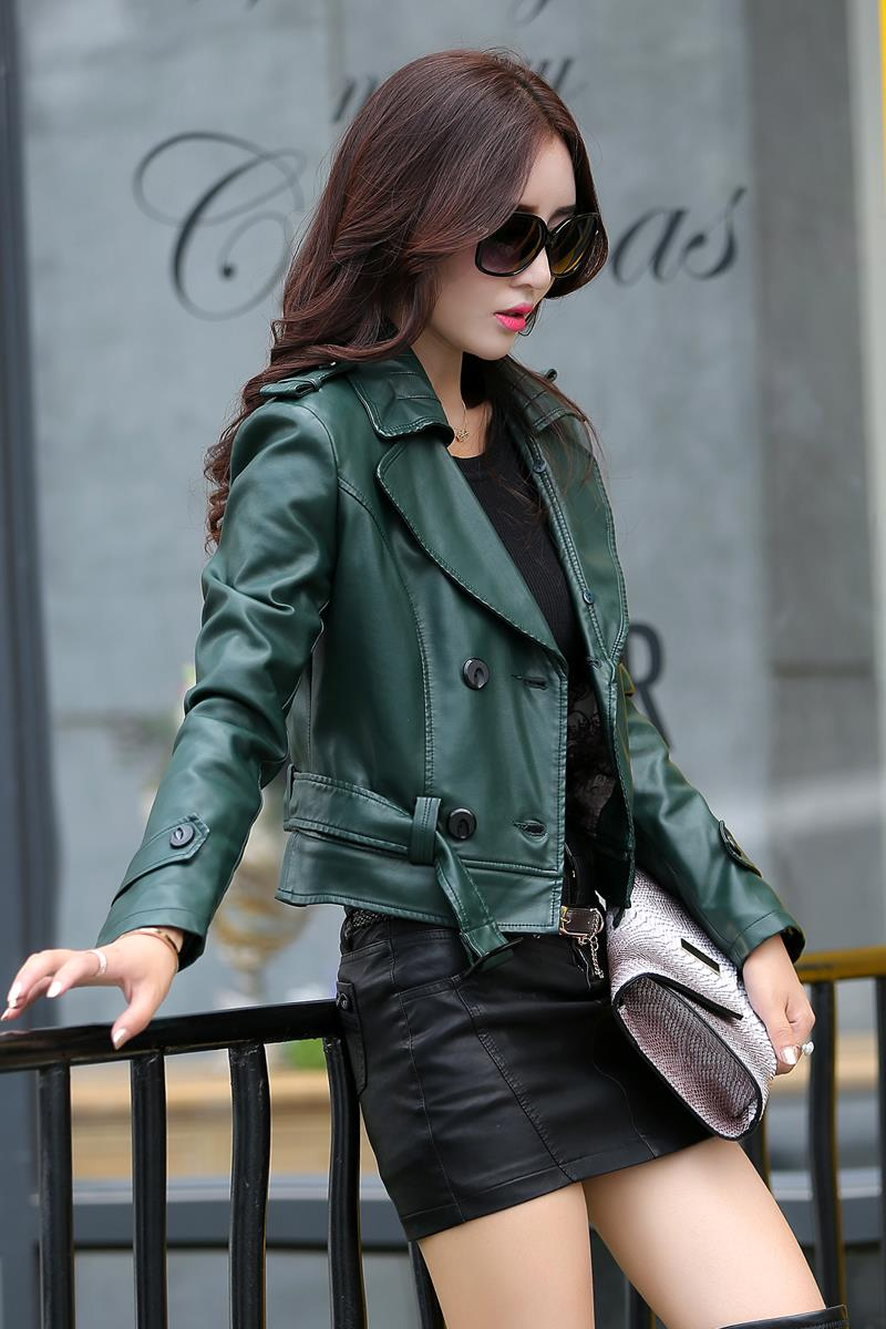 2 Uses For Short And Long Green Leather Coats Women Faux Leather ...