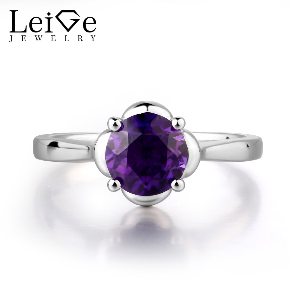 Здесь продается  Leige Jewelry Natural Amethyst Ring Purple Color Round Cut Wedding Bands Classic Ring With Stone February Birthstone 925 Silver  Ювелирные изделия и часы
