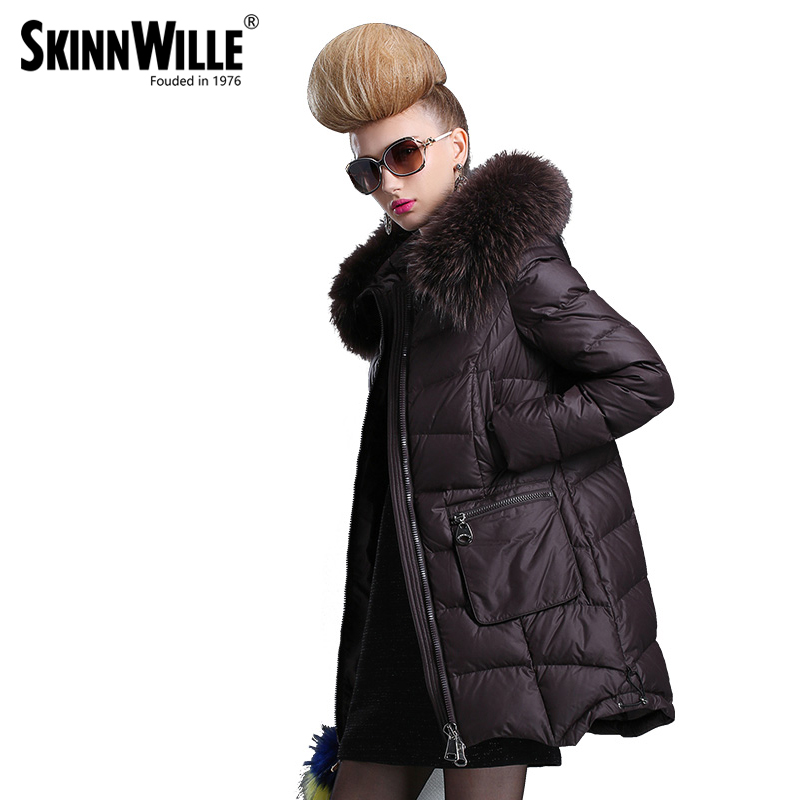 SKINNWILLE In the 2017 long white duck down coats Female long even the chinstrap collars in