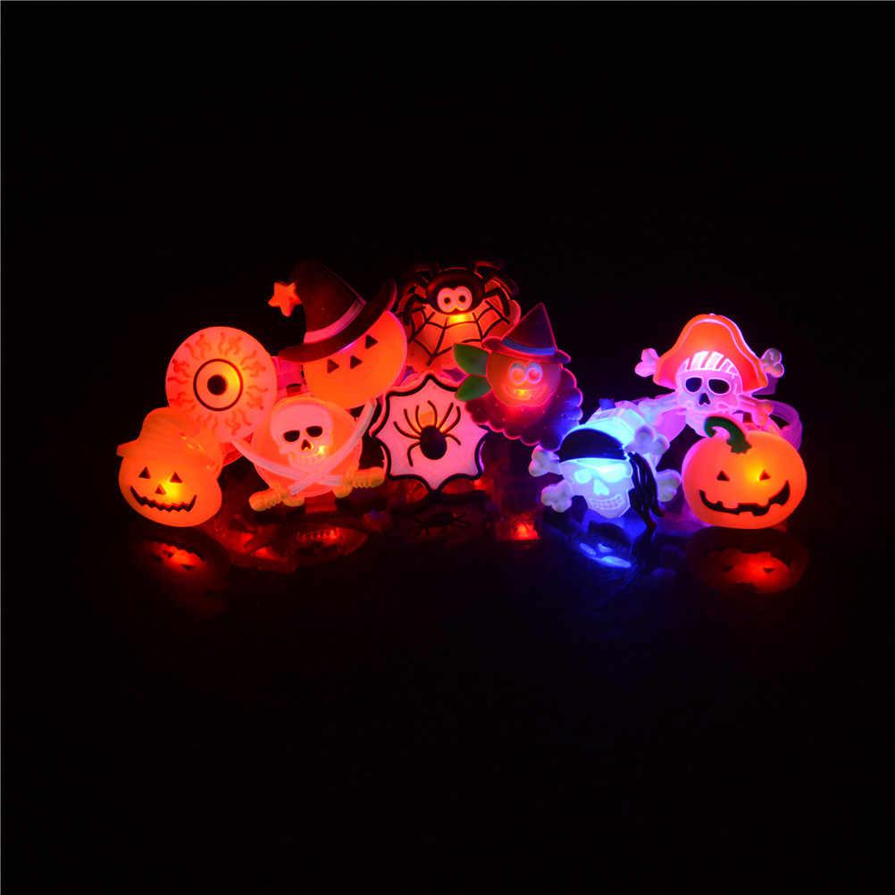 Dibujos Animados LED parpadeante luz brillante dedo anillo juguetes Navidad Año Nuevo Fiesta regalo para niños Halloween Juguetes Divertidos