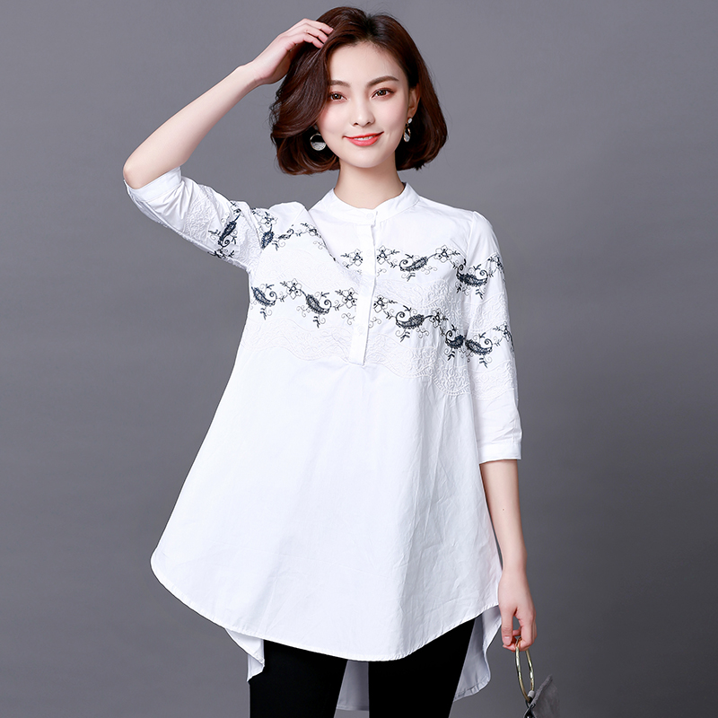 Plus Size 2018 New Spring Women Shirts Three Quarter Sleeve Loose Slim Fat Long Embroider In 200 Jin Blouse Shirt White 6602