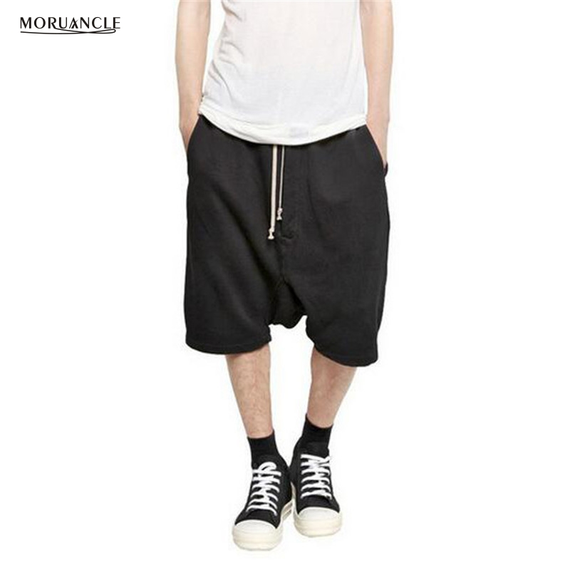 MORUANCLE Fashion Hi Street Mens Hip Hop Jogger   Shorts   Drawstring Streetwear Male Drop Crotch Harem   Short   Pants Brand Designer