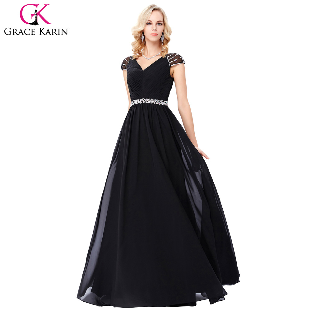 ∞Robe de Soiree Longue Grace Karin Black Beaded Evening Dresses ...