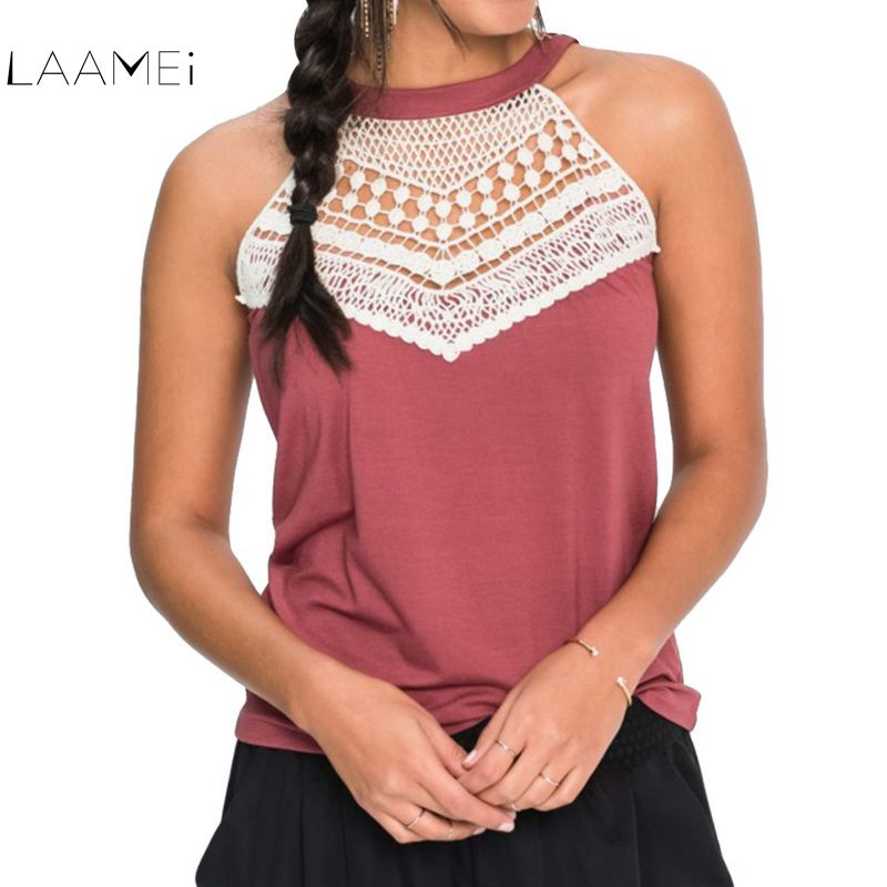 Laamei 2018 Hot Sale Summer Woman New Lace Solid Tank Tops Women Sleeveless Patchwork Round Neck Loose T Shirt Ladies Girls Vest