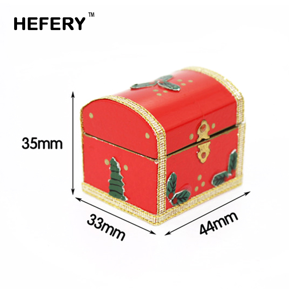 1/12 Dollhouse Miniature Accessories Mini Wooden Christmas Gift  Box Simulation Furniture Model Toys For Doll House Decoration