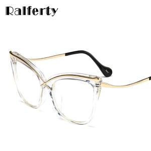 a5b0f93d117 Ralferty Transparent Women Optical Eyeglasses Frames Clear