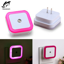 Geoeon EU US Plug Light Sensor Control Night Light Mini Novelty Square Bedroom lamp For Baby Gift Romantic Colorful Lights A515(China)