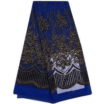 2017 Superior Design high quality african tulle lace fabric Wholesale stones French net lace fabric for wedding blue+black