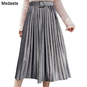 Image 1 - חצאיות נשים 2019 סתיו אמצע עגל אורך Faldas Mujer Moda אלסטיות גבוהה מותניים נהיגה לראשונה חצאית Femme Saia Midi מוצק נשי קפלים חצאית
