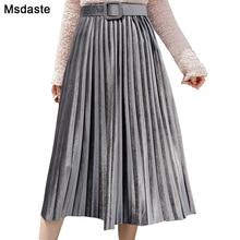 Faldas plisadas de media longitud de pantorrilla para Mujer, falda de cintura alta elástica a la Moda, color liso, para otoño, 2019