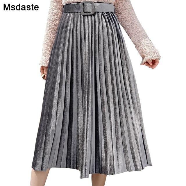 Skirts Women 2019 Autumn Mid calf Length Faldas Mujer Moda Elastic High Waist Jupe Femme Saia Midi Solid Female Pleated Skirt