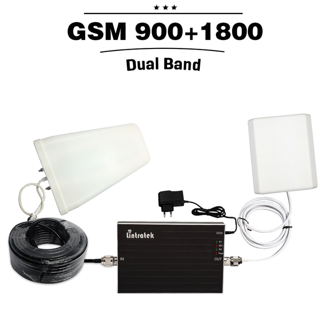 65dB Gain GSM 900 GSM 1800 Dual Band Signal Amplifier 20dBm GSM 900 DCS LTE 1800Mhz Mobile Cell Phone Booster With Antenna Cable