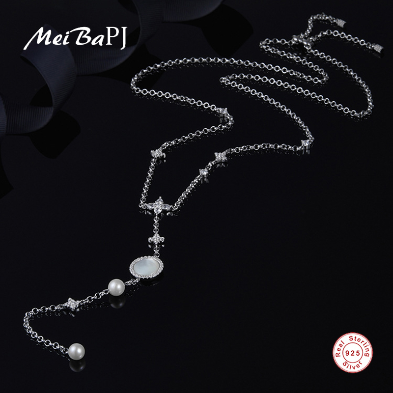 [MeiBaPJ] Real 925 Sterling Silver Fashion Necklace for Women Natural Freshwater Pearl Shell Pendant Fine Wedding Jewelry 2 3mm red natural agate necklace multi layers 925 sterling silver with real pearl fine womne jewelry wedding party necklace