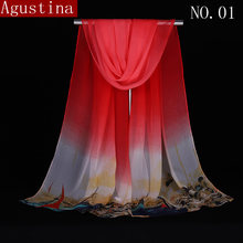 Silk scarf hijab scarves women shawl sjaal winter wrap luxury chiffon designer brand quality fashion print long scraf plaid coat(China)