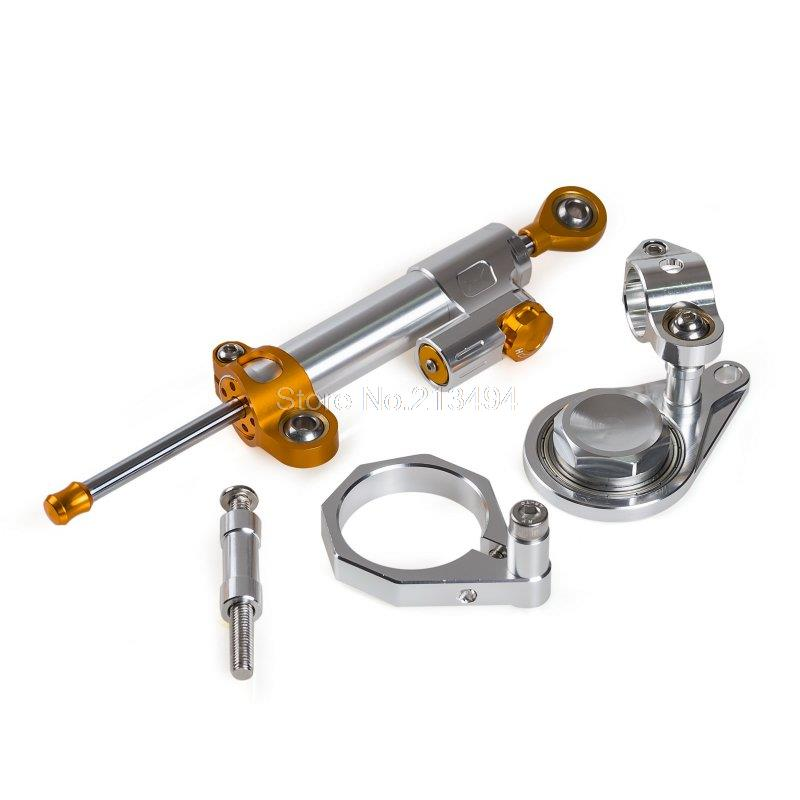 New Motorcycle Supplies Steering Damper and Bracket For <font><b>Suzuki</b></font> <font><b>GSXR1000</b></font> <font><b>K7</b></font> K8, GSXR600 GSXR750 06-10 Silver image