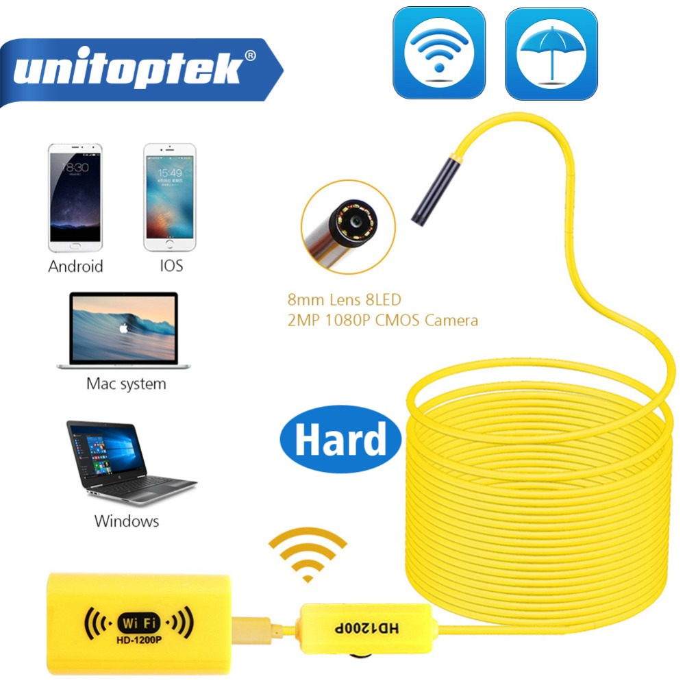 1200P Wireless Cam HD Adjustable 8 LEDs Wi-Fi Wirless Endoscope Camera 8mm IP68 Hard Cable 1M 2M 3.5M 5M For iOS Android Windows1200P Wireless Cam HD Adjustable 8 LEDs Wi-Fi Wirless Endoscope Camera 8mm IP68 Hard Cable 1M 2M 3.5M 5M For iOS Android Windows