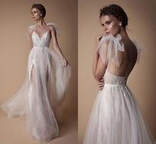 Ensotek 2019 Custom Made High End Lace Wedding Dress V-Neck Beads Open Back A Line Boho Bridal Vestido De Festa Split