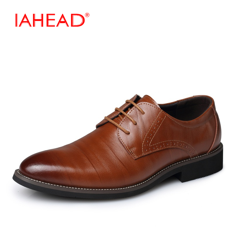 IAHEAD Genuine Leather Shoes Men Casual Fashion Plus Size 37-48 Flats Breathable Spring Autumn Shoes Lace Up MC023 spring autumn fashion men high top shoes genuine leather breathable casual shoes male loafers youth sneakers flats 3a