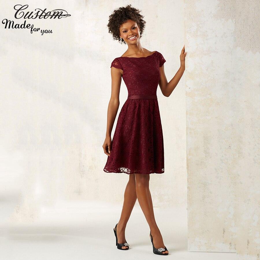 fashion plum robe de demoiselle d 39 honneur adulte lace burgundy bridesmaid dresses short with