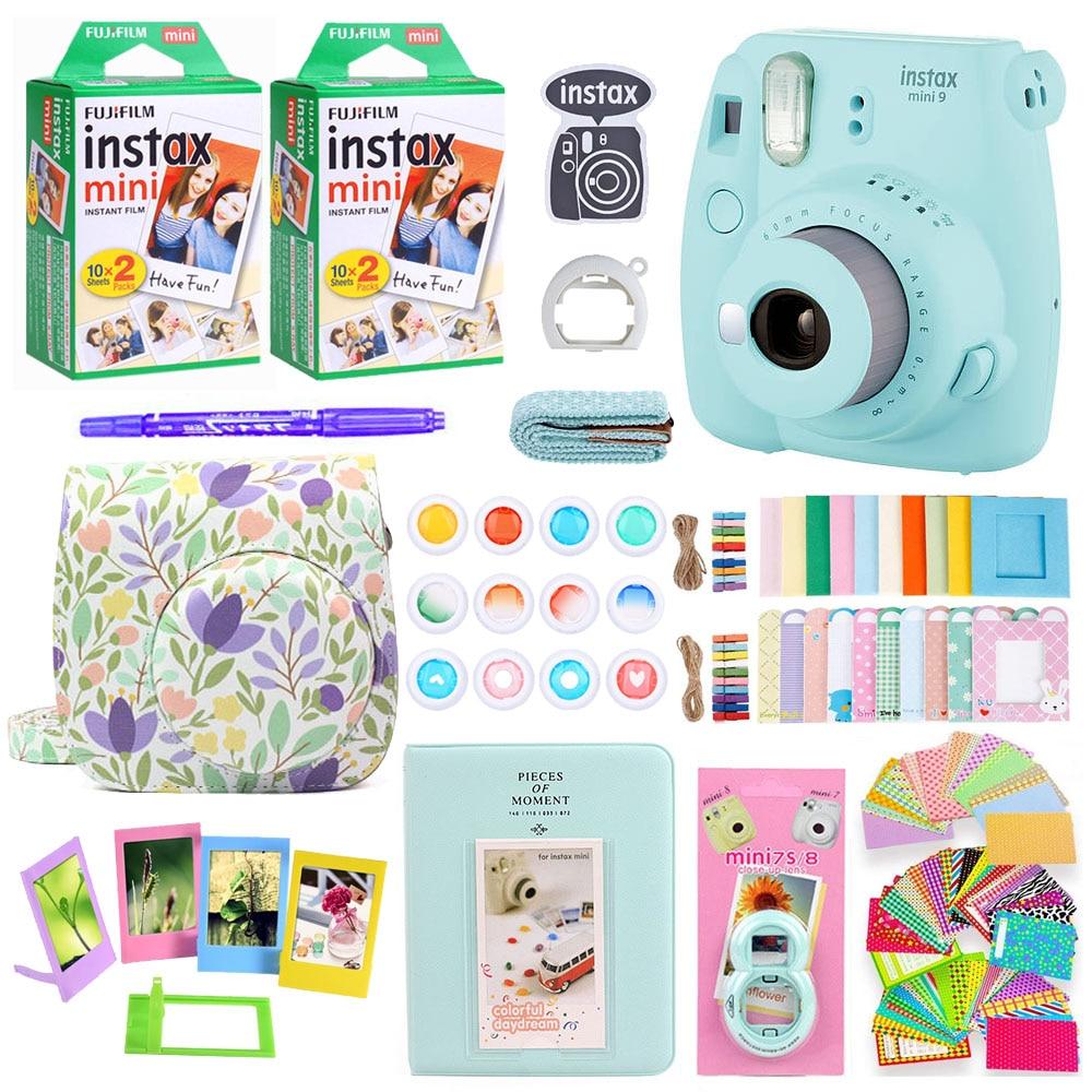 Fujifilm Instax Mini Câmera Com 40 Folhas de Impressão de Fotos Instantâneas 9 Mini Alça Da Câmera No Ombro Saco de Acessórios Pacote de Papel Filme