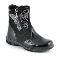 Elegant boots for girls black butterfly for children patent leather boots nubuck leather natural wool happiness girls
