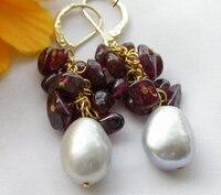 13mm gray baroque pearl garnet dangle earring plated