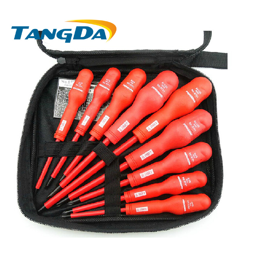 Tangda 9 in 1  9Pcs 1KV 1000V High Voltage Insulation Resistance Electrician Screwdriver Kit Tool Set Plumber Installation 2017 high quality taiwan bao gong 1pk 816n pro skit high voltage insulation 1000v electrical set tool group free shipping