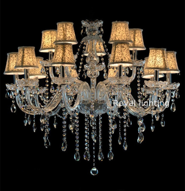 led lustre ancien lustres en cristal bougie lustre lampes pour villa h tel tissu abat jour. Black Bedroom Furniture Sets. Home Design Ideas