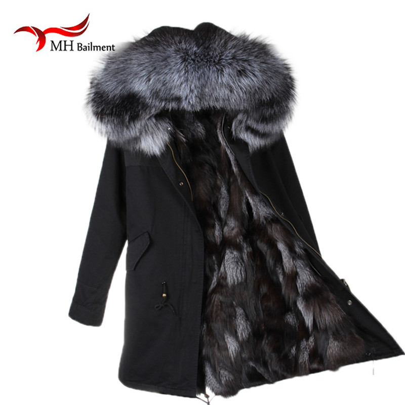 59263dfbe3580 Winter Jacket Women Army Black Green Parka Coats Real Large Raccoon Fur  Collar Fox Fur Lining Hooded Outwear Free A 27