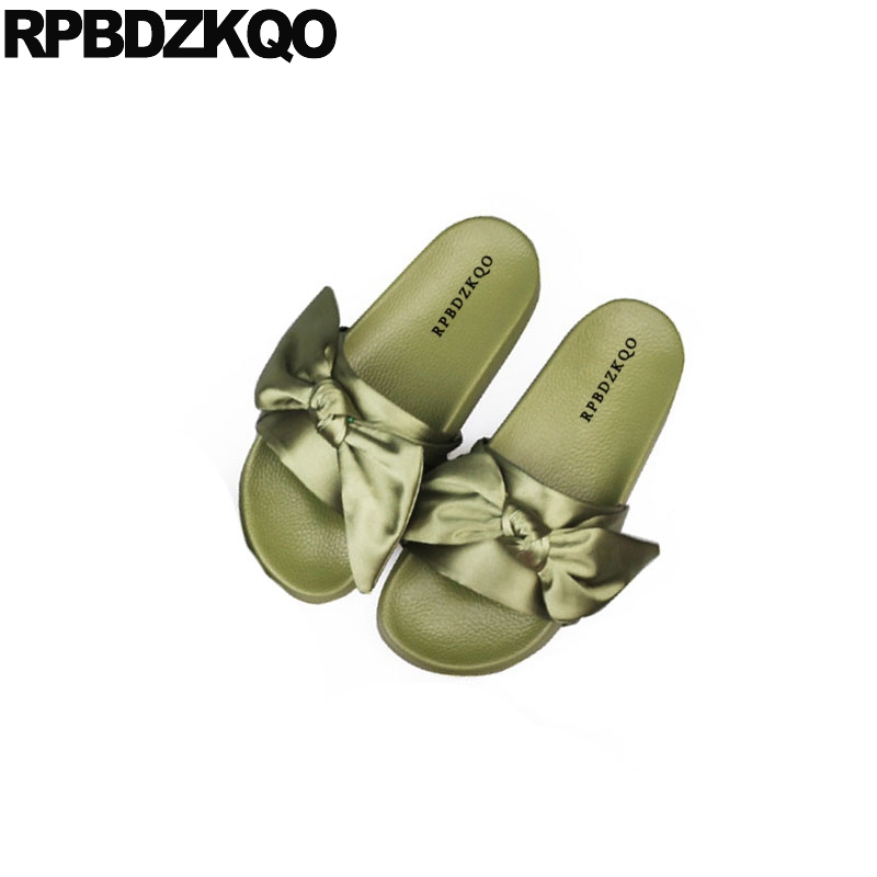 911312904d80 ... Slip Casual Bowtie Satin Gold Kawaii Women Shoes On Toe Bow Ladies Open Soft  Cute Embellished ...