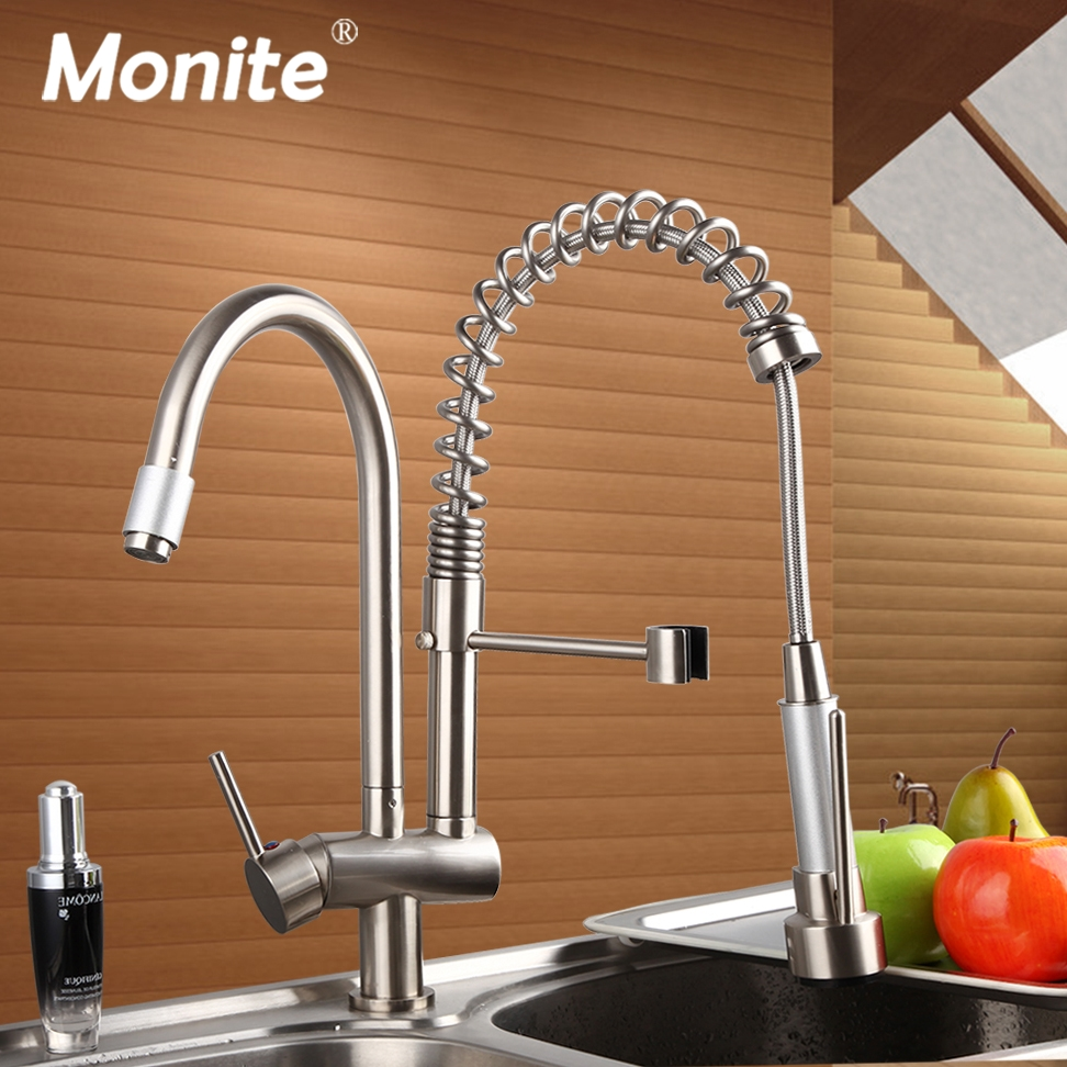 Brushed Nickel Double Handles Spray Stream Brass Water Kitchen Swivel Spout Pull Out Vessel Sink Deck Mounted Mixer Tap Faucet newly chrome brass water kitchen faucet swivel spout pull out vessel sink single handle deck mounted mixer tap mf 302