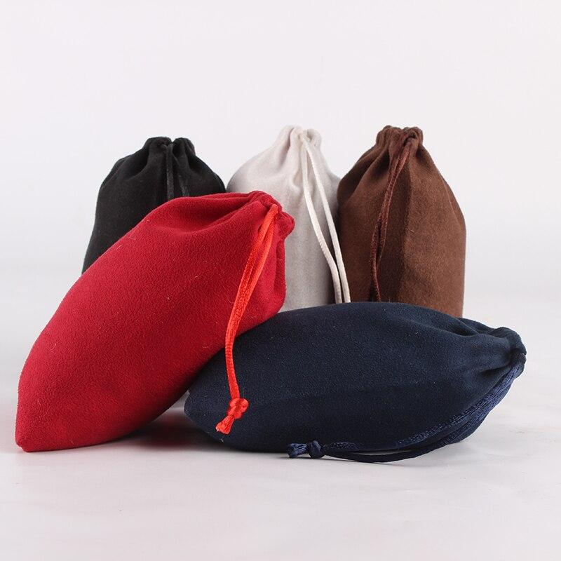 5pcs/lot 10*14cm Double Side Suede Bag Custom Logo Print Pouch Drawstring Bags