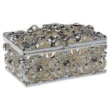 HOT GCZW Small Rhinestone Embellished Hollow Jewelry Storage Gift Trinket  Box Silver(China)