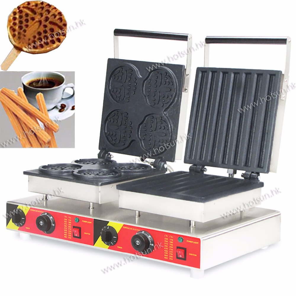 Doulbe-Head 220v Electric Churros Waffle Sick Maker Machine Baker economic and elegance waffle maker machine baker doulbe head electric churros with bar shaped and popsicle