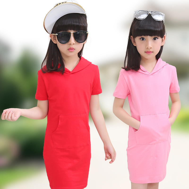 2017 Summer New Solid Girls Dress Cotton Long T-Shirt Hooded With Pocket For Girl Kids Children Casual Short Straight Mini new arrival spring fall girl t shirt cotton long sleeved casual children t shirt girl long sleeve t shirt 6 11y
