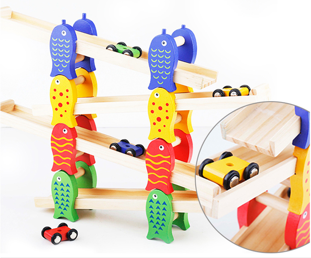 Free Shipping!Baby Toys Wooden Building Kits Size Ramp Race Funny Vehicle Toys Educational Toy Games Boy gift
