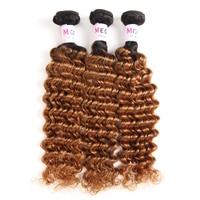 Megalook Pre Colored Ombre T1b30 Peruvian Deep Wave Human Hair 3pcs/lot Bundles Honey Blonde Remy Weave Bundle Hair Extension