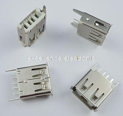 100 Pcs USB Type-A Female 4 Pin DIP Socket Connector 13.7 diy usb a 4 pin female connector socket silver 20 piece pack