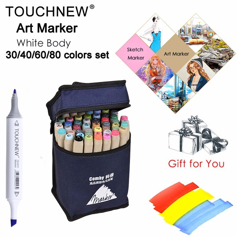 TOUCHFIVE Art Marker 168 colors/set Professional Art Markers Set Double headed Alcohol based Markers For School Supplies dainayw 12 colors sketch skin tones marker pen artist double headed alcohol based manga art markers for school supplies