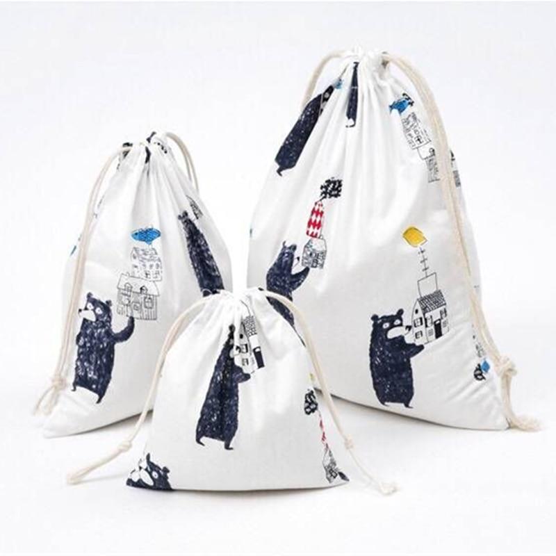 YILE Black Bear Cotton Drawstring Multi-purpose Pouch Coin Key Phone Organized Bag 8614i