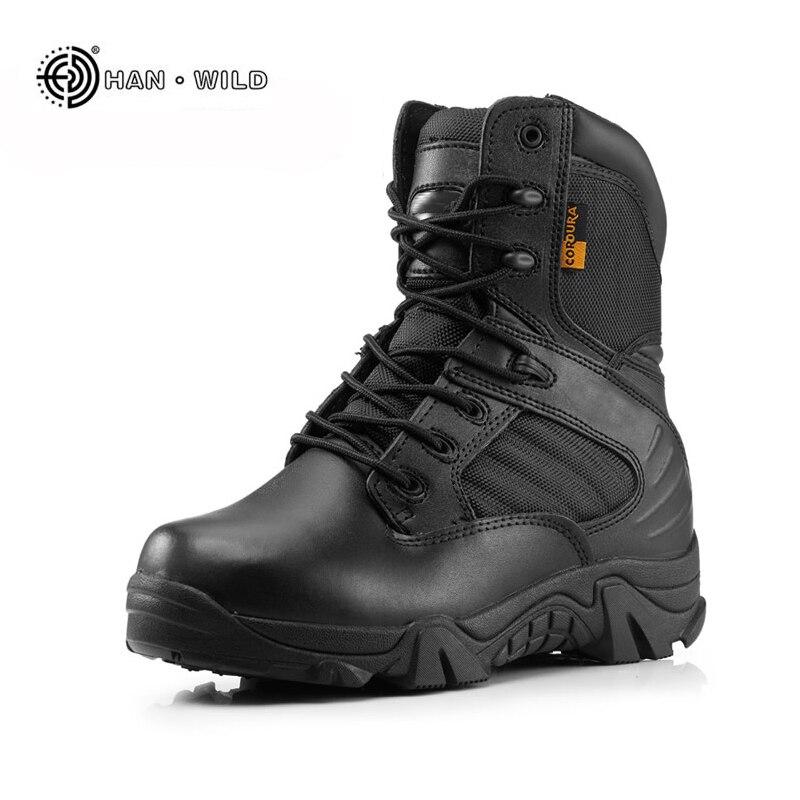 Для мужчин военные Армейские ботинки зимние кожаные черные особой силой Desert ботильоны армейские ботинки безопасности работы обувь армейск...