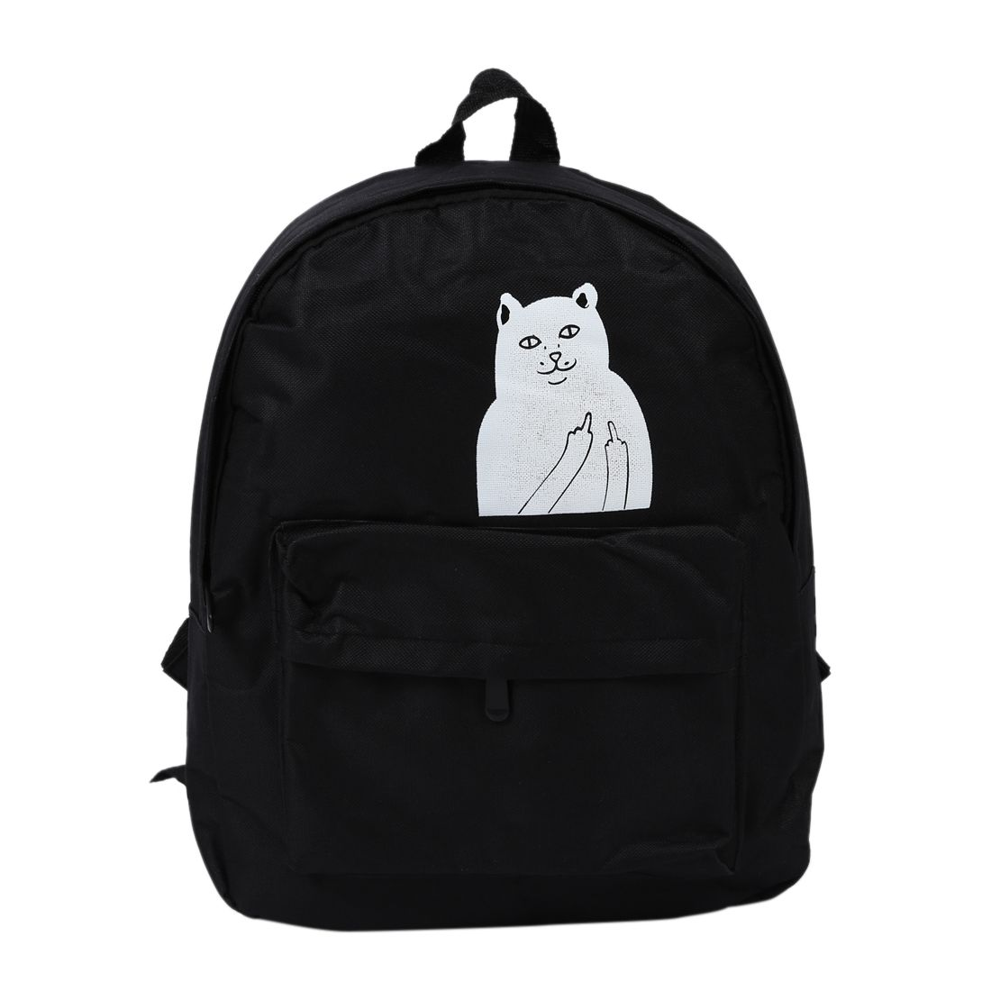 Hot Fashion Womens College Wind  canvas Shoulders backpack White Cat