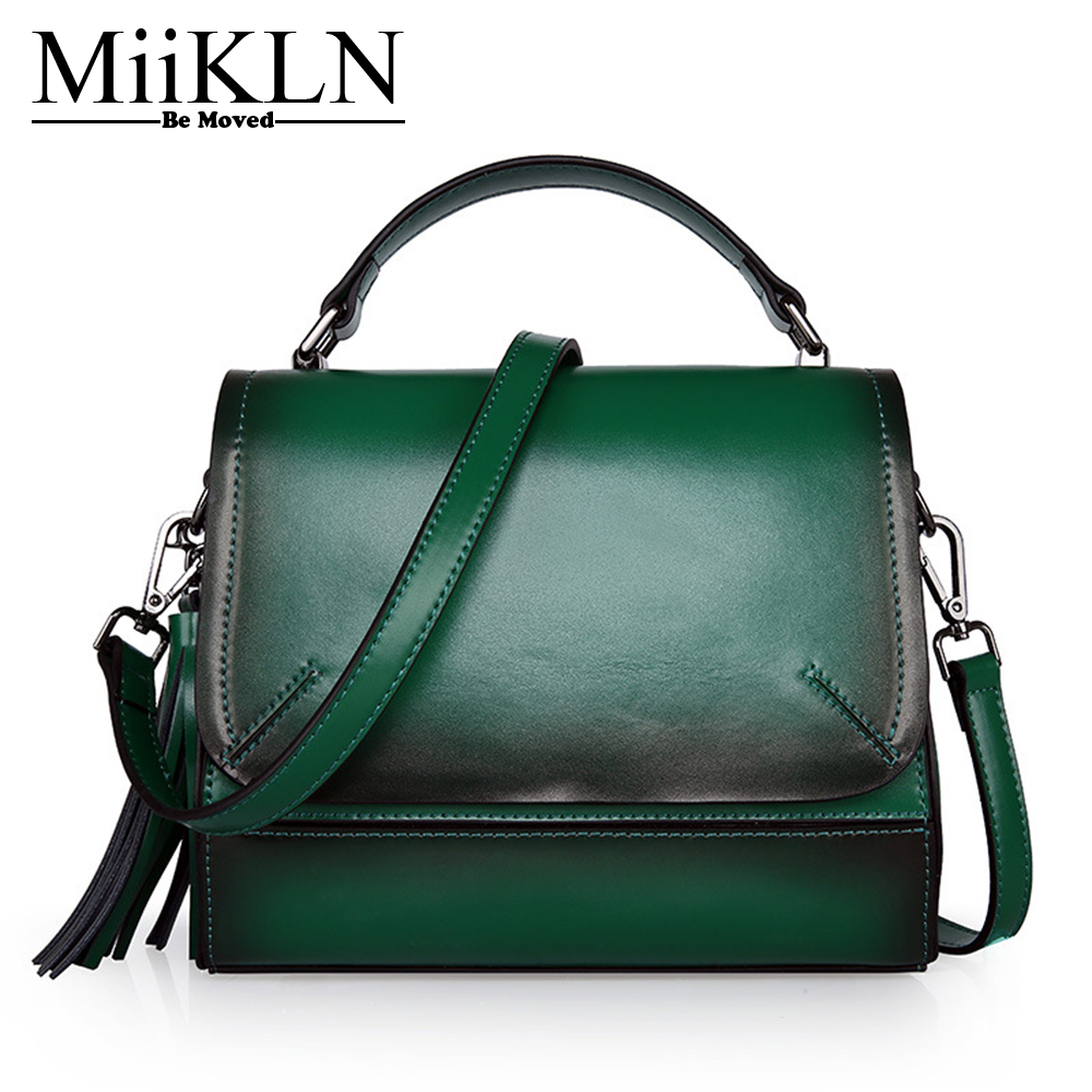 купить MiiKLN Solid Red Black Green Split Cow Leather Women Flap Small Bags New Design Ladies Handbag Mini Messenger Bag по цене 3994.85 рублей