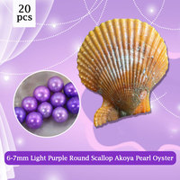 Best Love Wish Gift for Women, Round Akoya Pearl in Scallop Oyster 6 7mm Light Purple Pearl 20pcs Pearl Necklace Making PJW287