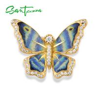 SANTUZZA Silver Brooch for Women Authentic 925 Sterling Silver Gold Color Blue Butterfly Fashion Trendy Jewelry Handmade Enamel