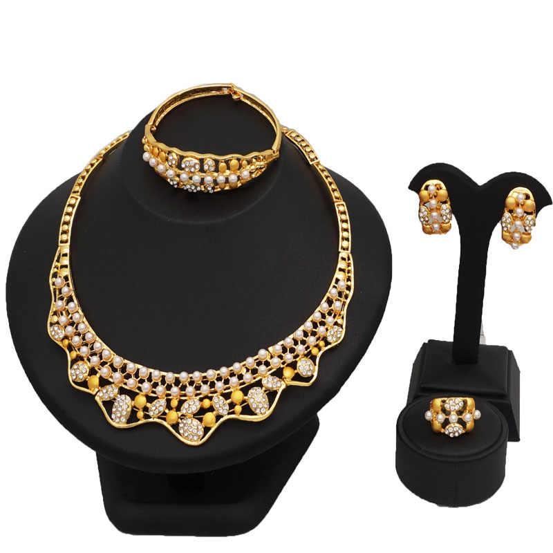 24 K złota nowy przyjeżdża koralik biżuteria ustawia kobiety moda biżuteria ustawia dzieła biżuteria ustawia kobiety ślubne duży naszyjnik