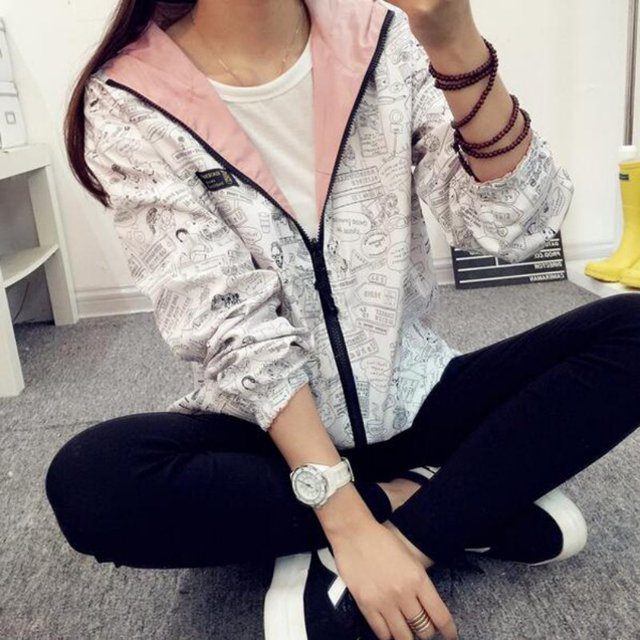 Spring Autumn Cartoon Print Hooded Two Side Wear Jacket 3
