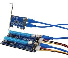 PCIe Riser Carte 1 à 2 PCI-E 1X à PCI-E 16X fente Avec USB 3.0 Câble D'alimentation Minière Adaptateur Conveter pour BitCoin
