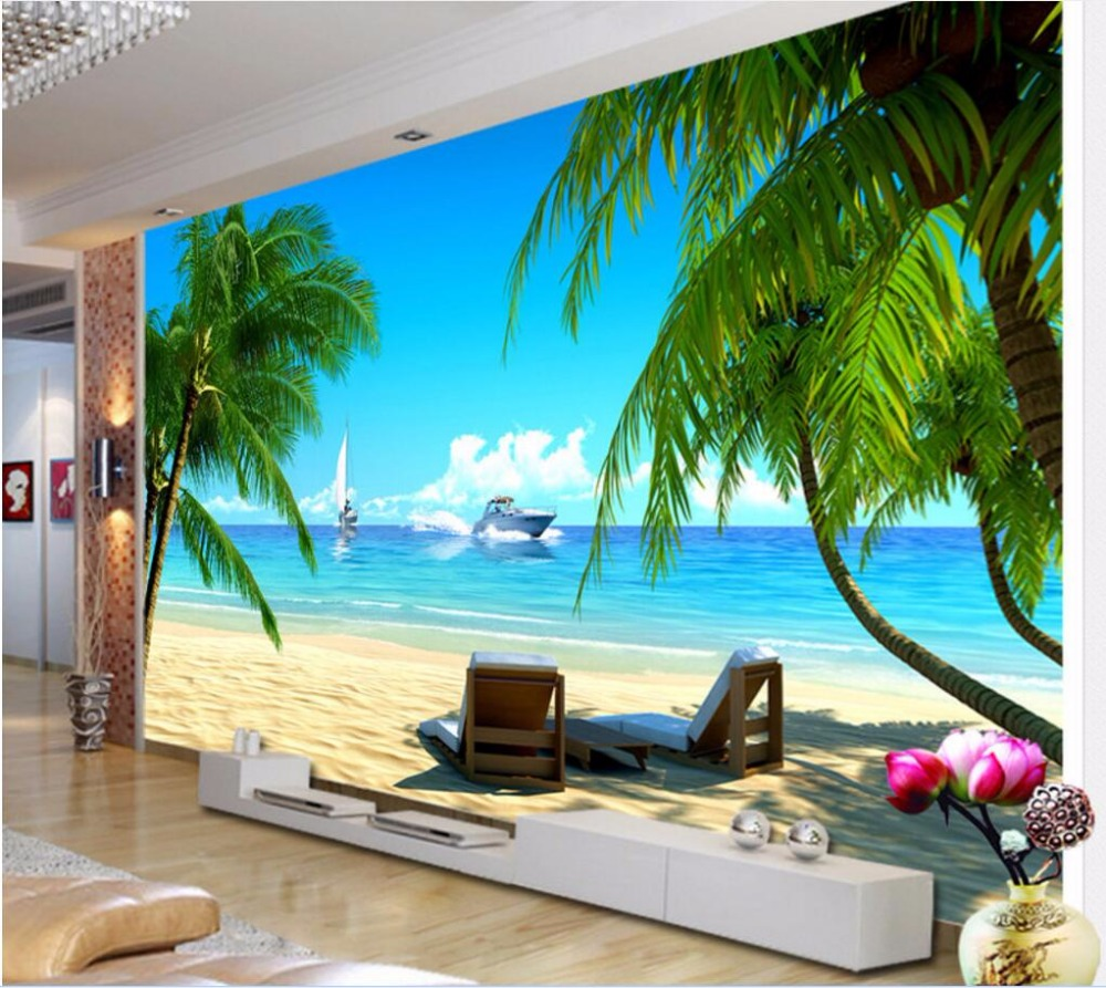 Custom mural 3d photo wallpaper coconut palm beach for Beach mural wallpaper