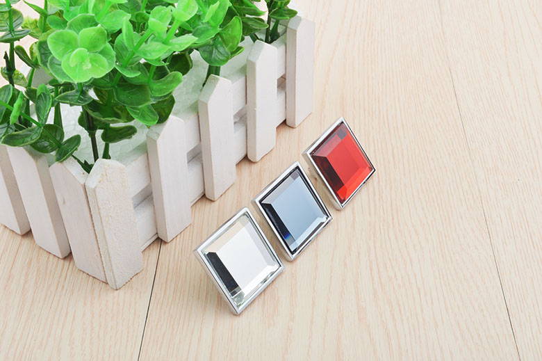 10Pcs/Lot Prem Contemporary Square Design Crystal Zinc Knob Kitchen Cupboard Furniture Cabinet  handle Pull